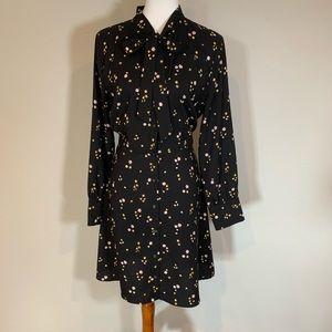 Black floral LOFT fit & flare dress with tie neck